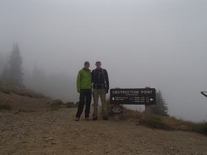 Beginning the hike in the fog