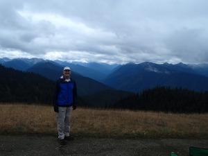 My dad with the Olympic Mountains