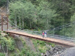 Cool suspension bridge on the Olympic Hot Springs trail